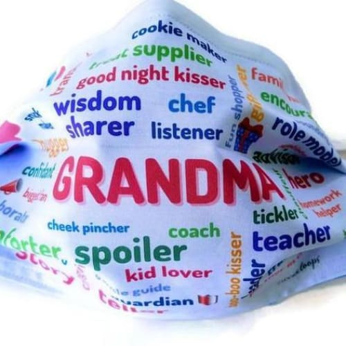 blue background grandma custom mask