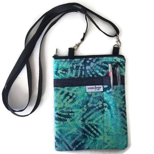 Teal Batik Fabric Crossbody Bag with (optional) Grab & Go