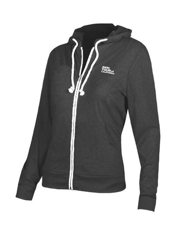 Amgen Tour of California Women's Vertical Logo Full Zip Hoodie - Charcoal