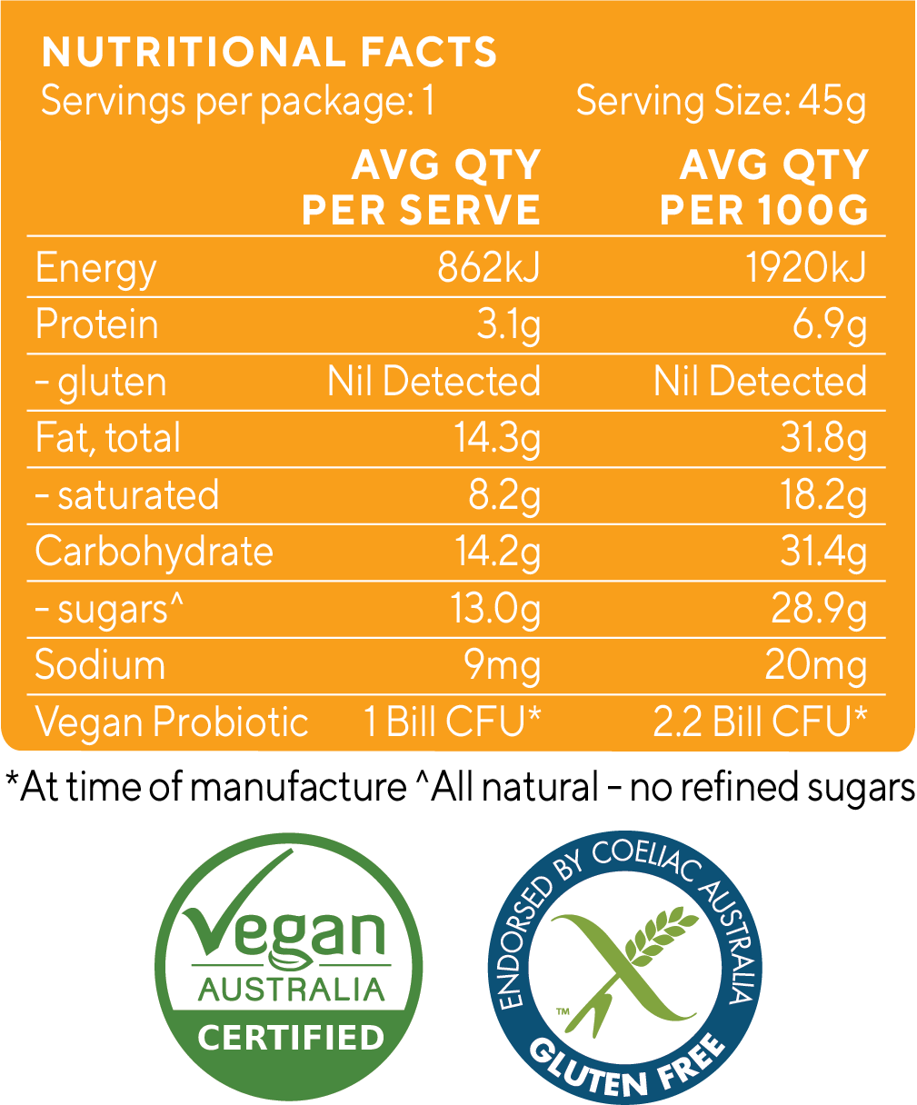 Apricot Macadamia SUperfood Bar Nutrition