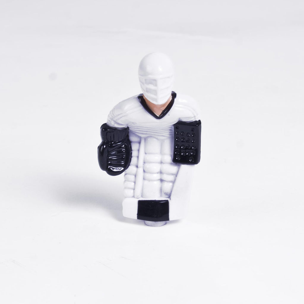 Rod Hockey Goalie with Plastic Rod attachment, White and Black