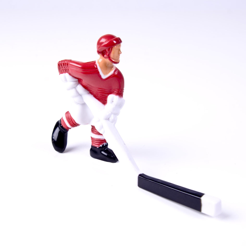 Rod Hockey Player with Plastic Rod attachment, Red and White