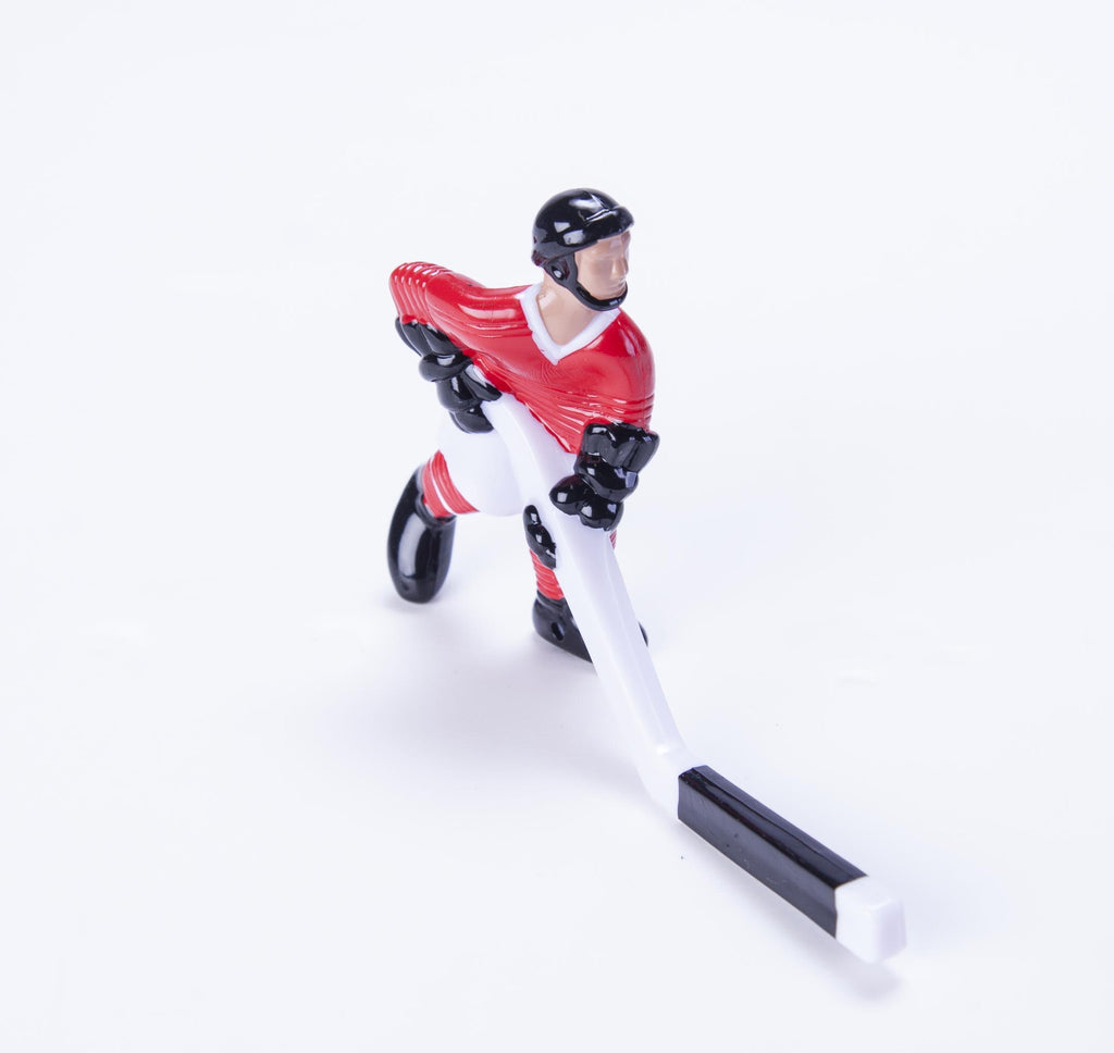 Rod Hockey Player (45mm short stick) with Steel Rod attachment, Red and White