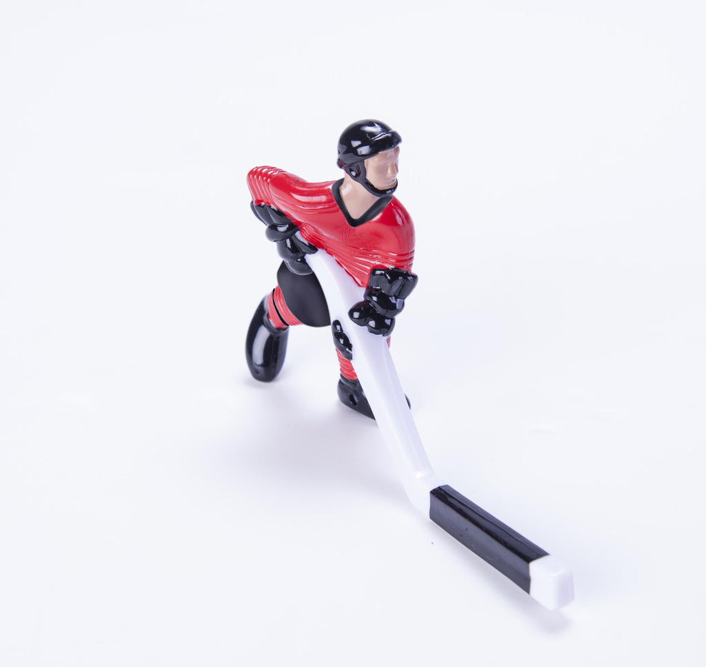 Rod Hockey Player (55mm long stick) with Steel Rod attachment, Red and Black