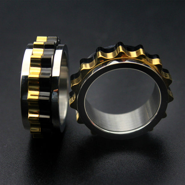 """Gearhead"" Spinning Fidget Gear Ring [Stainless Steel]"