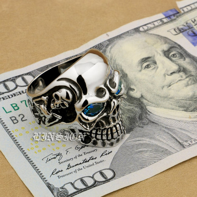 Blue Eyes Skull Ring [Handcrafted] [Stainless Steel & Cubic Zirconium]
