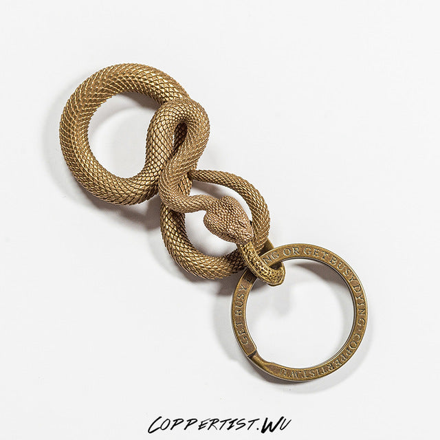 Rattlesnake Luxury Keychain [Solid Brass] [Hand Forged]