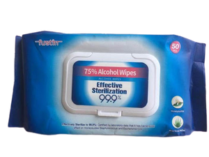 75% Alcohol Disinfectant Wipes with Aloe Vera Extract