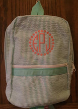 Load image into Gallery viewer, Lilac Seersucker  Backpack by Mint, personalized - Buggy Boos Embroidery