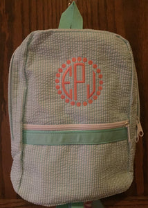 Lilac Seersucker  Backpack by Mint, personalized - Buggy Boos Embroidery