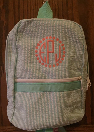 Mint Seersucker Backpack by Mint, personalized - Buggy Boos Embroidery
