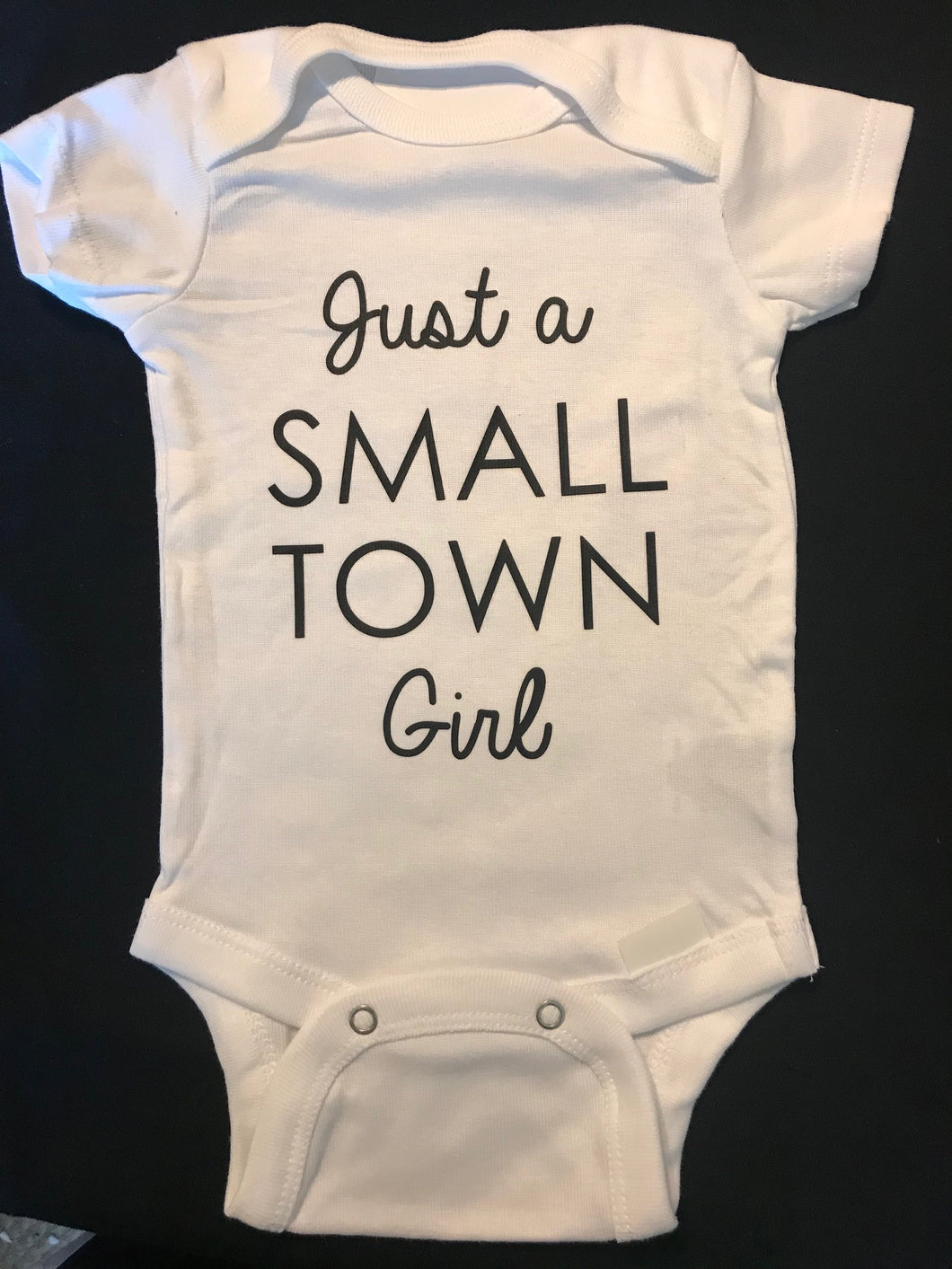 Just a small town girl, infant, Baby one piece, baby shower, newborn - Buggy Boos Embroidery