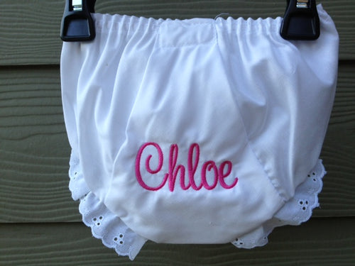 Personalized Baby Bloomer-Sweetheart font - Buggy Boos Embroidery