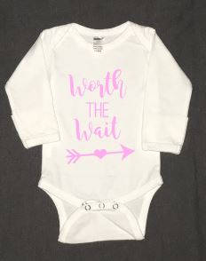 Worth the Wait newborn baby infant bodysuit - Buggy Boos Embroidery