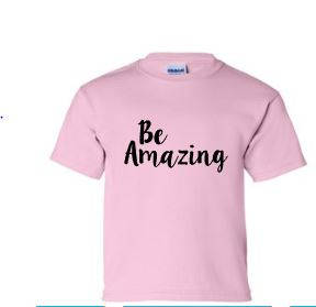Be Amazing youth pink girls shirt - Buggy Boos Embroidery