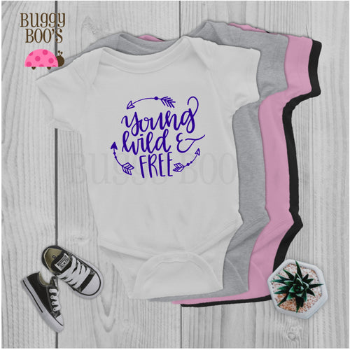 Young Wild and Free, newborn bodysuit - Buggy Boos Embroidery
