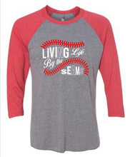 Load image into Gallery viewer, Living by the Seams baseball softball shirt - Buggy Boos Embroidery