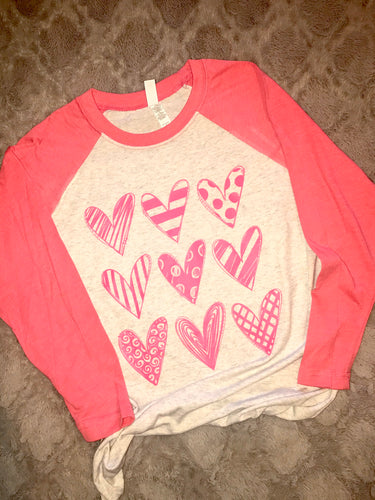 Hearts Valentine raglan shirt, Valentines day shirt, womens, ladies, love, heart, baseball sleeves - Buggy Boos Embroidery