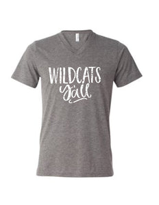 Wildcats Y'all distressed Vneck Triblend Graphic T - Buggy Boos Embroidery