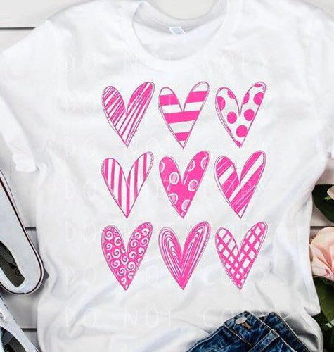 Hearts Valentine shirt, Valentines day shirt, womens, ladies, love, heart, white long sleeve - Buggy Boos Embroidery