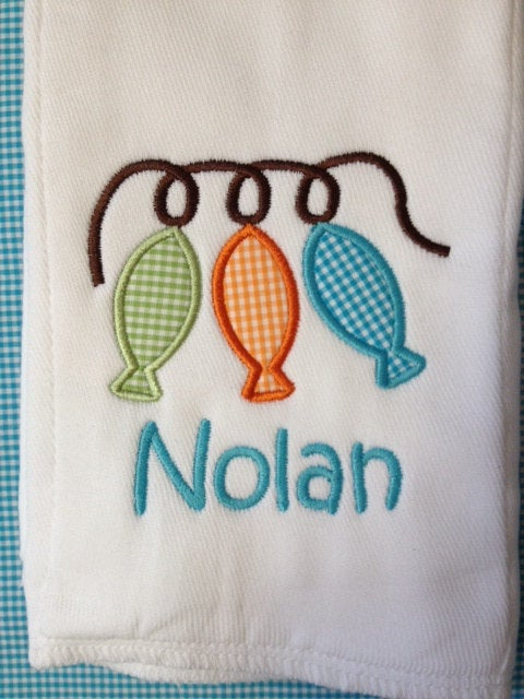 Monogrammed bib and burp set 3 string fish - Buggy Boos Embroidery