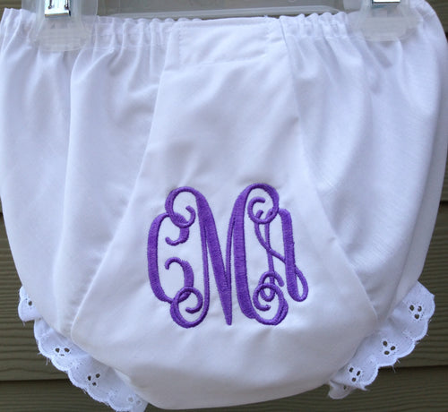 Personalized Baby Bloomer 3 letter monogram - Buggy Boos Embroidery