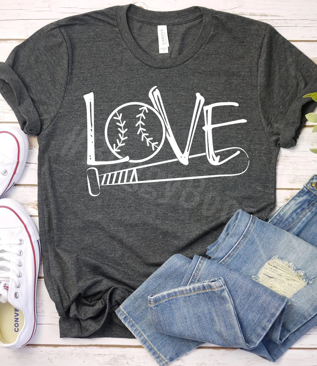 Love Baseball short sleeve - Buggy Boos Embroidery