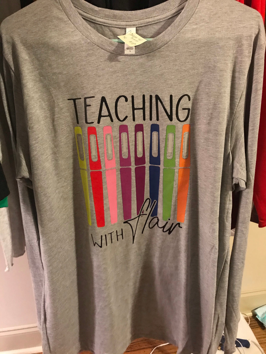 Teaching with flair short sleeve-Large - Buggy Boos Embroidery