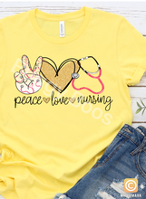 Load image into Gallery viewer, Peace Love Nurse Graphic T - Buggy Boos Embroidery