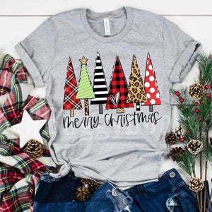 Merry Christmas Traditional trees LONG sleeve - Buggy Boos Embroidery