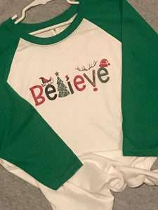 Believe green sleeve raglan - Buggy Boos Embroidery