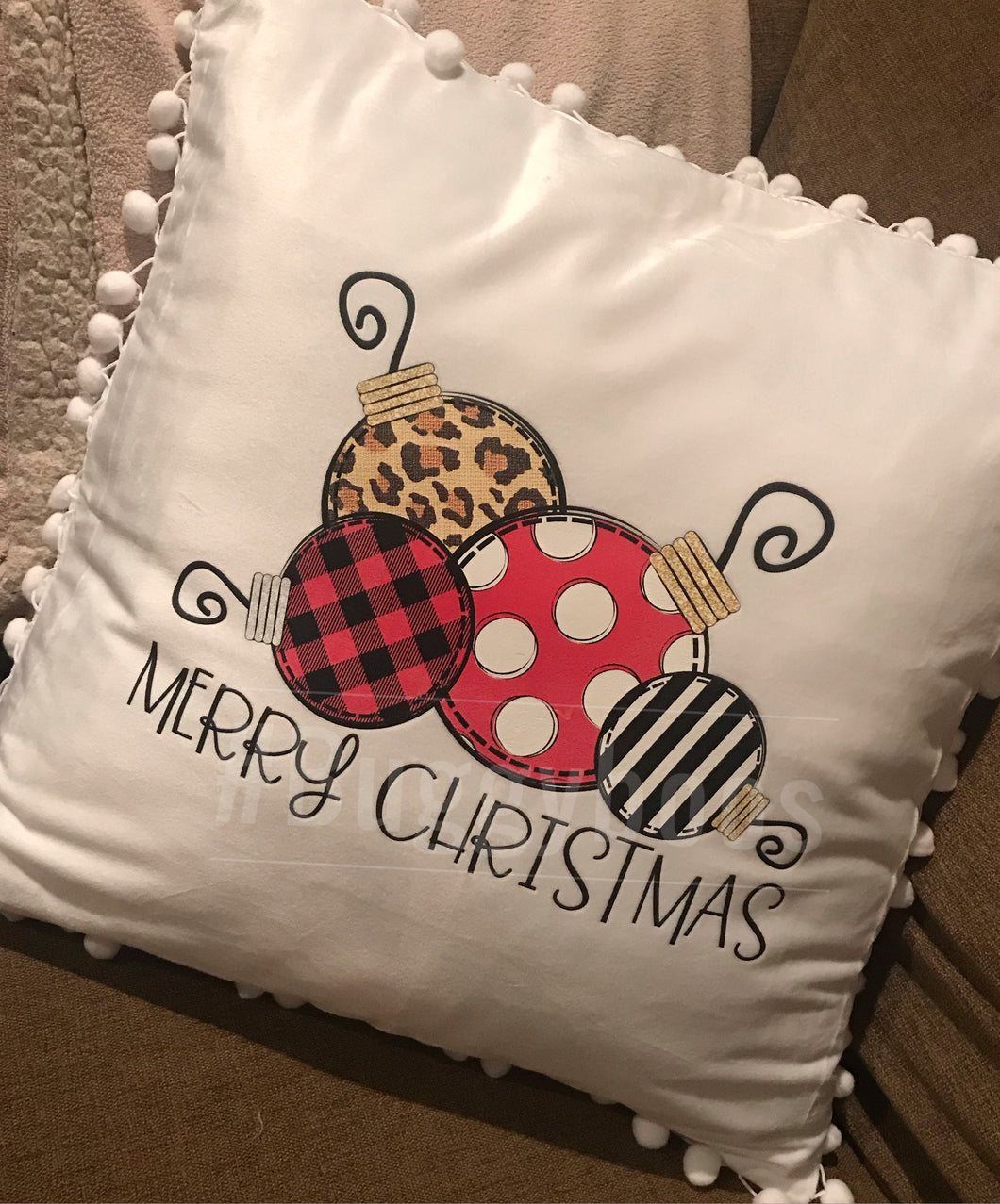 Merry Christmas Jingle Bells 18x18 pillow - Buggy Boos Embroidery