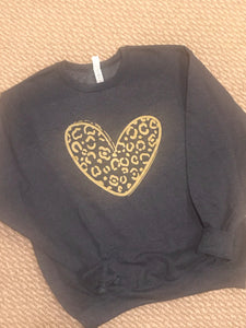 Gold cheetah heart sweatshirt - Buggy Boos Embroidery