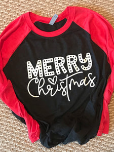 Merry Christmas red and black raglan - Buggy Boos Embroidery