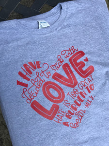 Love not hate Tshirt-red design - Buggy Boos Embroidery