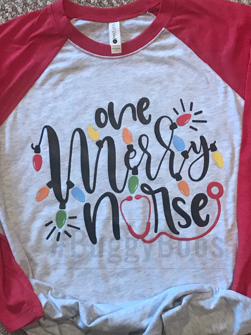 One Merry Nurse Raglan - Buggy Boos Embroidery