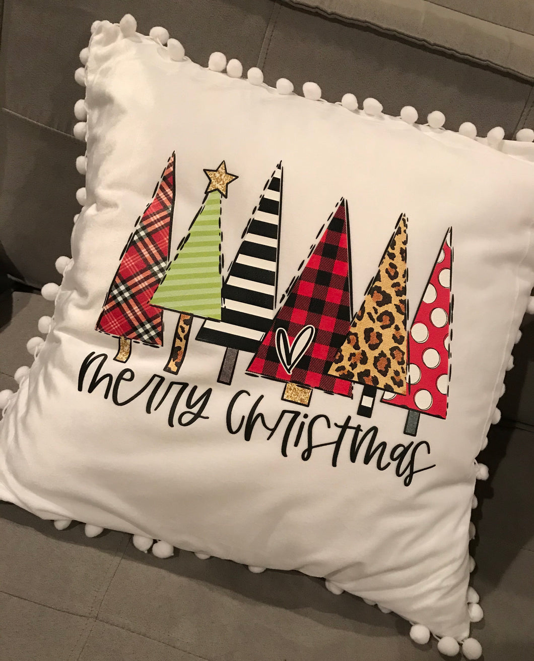Merry Christmas traditional trees 18x18 pillow - Buggy Boos Embroidery