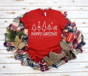 Merry Christmas simple trees red short sleeve - Buggy Boos Embroidery