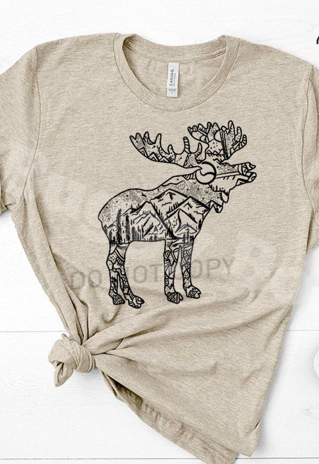 Moose graphic t shirt - Buggy Boos Embroidery