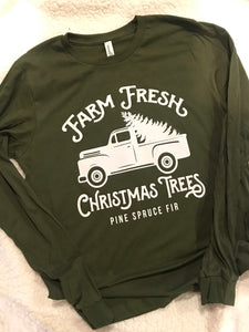 Farm Fresh Christmas Trees -dark heather grey long sleeve - Buggy Boos Embroidery