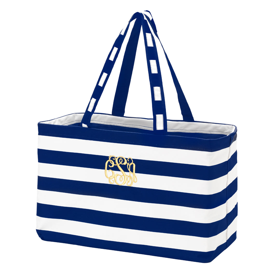 Ultimate tote-navy  stripe - Buggy Boos Embroidery