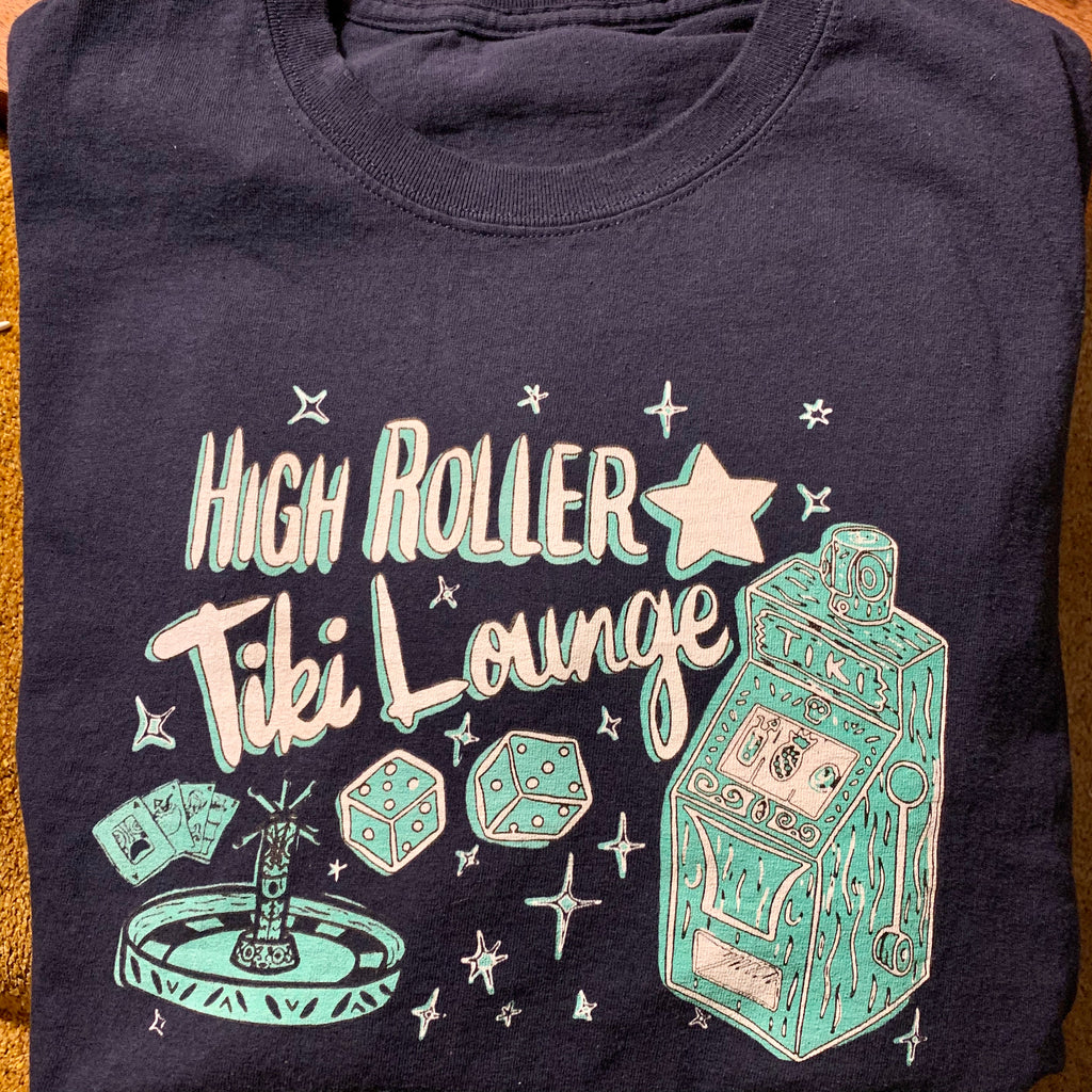 Navy Blue High Roller Tiki Lounge T-Shirt Mens