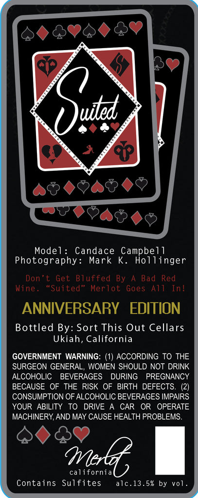 """Suited"" CANDACE CAMPBELL MERLOT anniversary bottle"