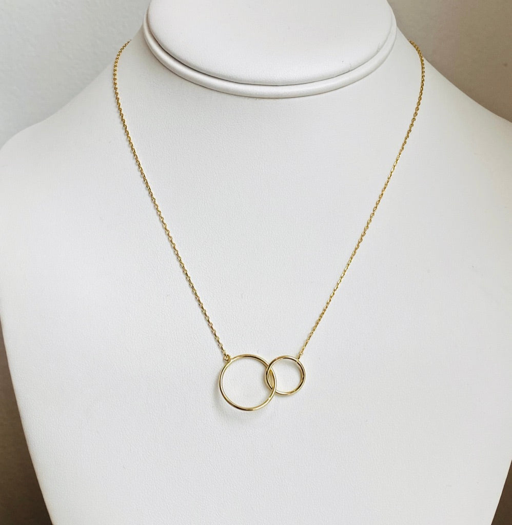Double Hoop Gold Necklace