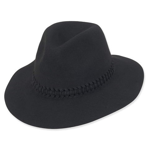 Black Braided Felt Fedora