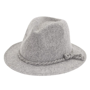 Powder Grey Knit Fedora W/Side Knot