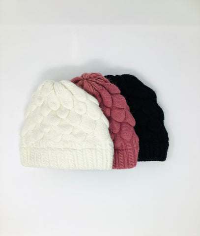 Scalloped Angora Knit Hat