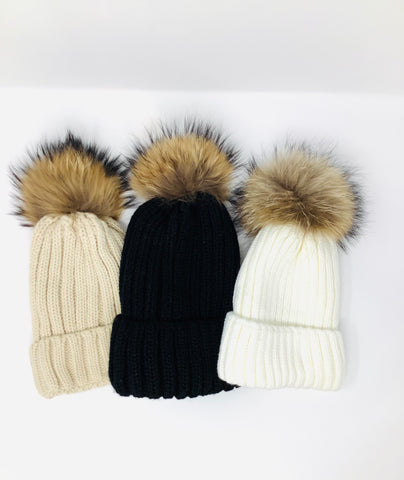 Ribbed Knit Rabbit Pom Pom Hat