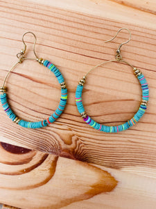 Multicolored Disc Hoops