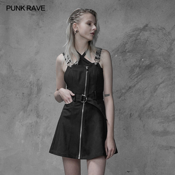 Punk Rave Personality Pendulum Denim Pinafore Dress
